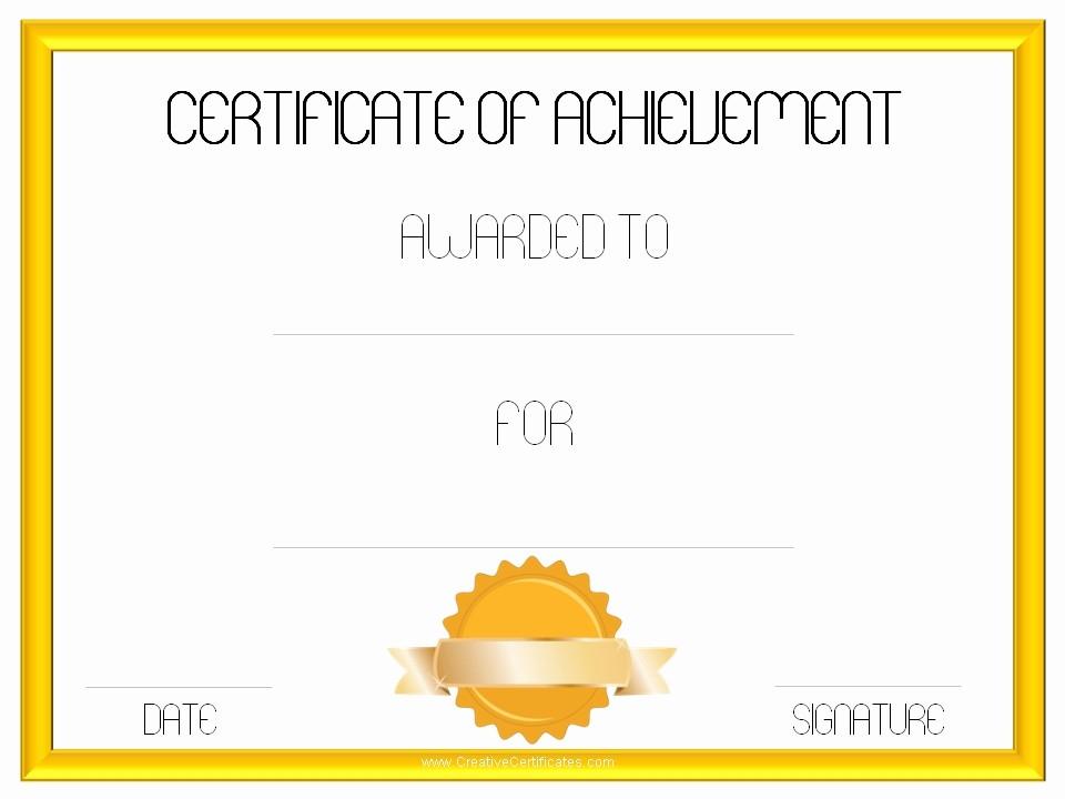 Certificate Of Achievement Free Template Lovely Certificate Achievement Template