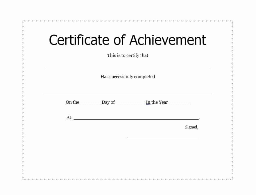 Certificate Of Achievement Free Template Luxury 40 Great Certificate Of Achievement Templates Free