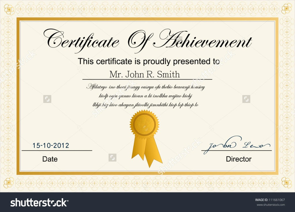 Certificate Of Achievement Free Template Luxury Blank Vector Printable Blank Certificates