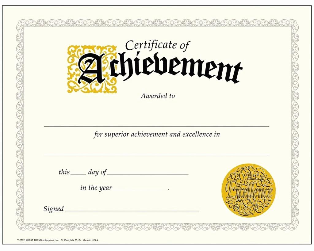 Certificate Of Achievement Free Template Luxury Certificate Templates