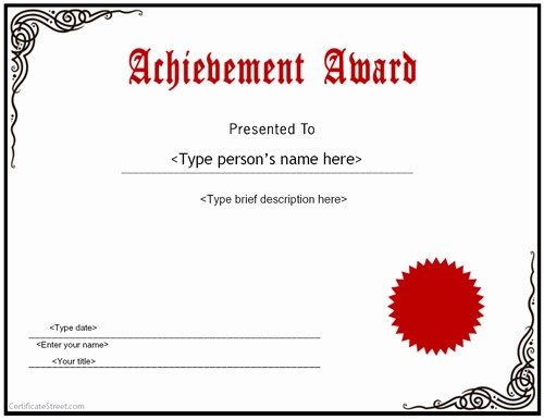 Certificate Of Achievement Free Template New Certificate Templates
