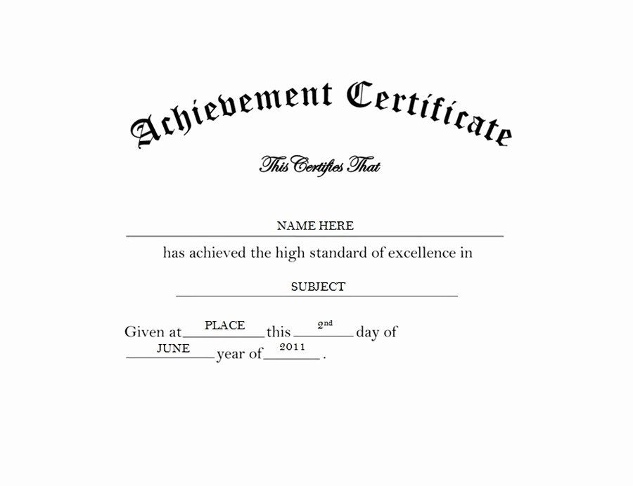 Certificate Of Achievement Free Template Unique Certificate Of Achievement Free Word Templates & Clipart