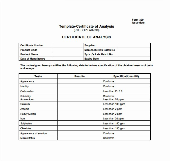 Certificate Of Analysis Template Excel Awesome Certificate Of Analysis Template 10 Free Download