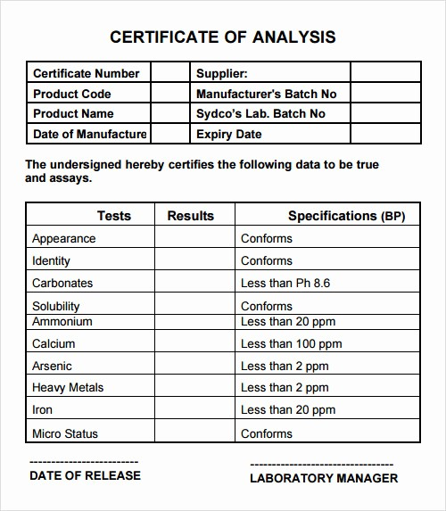 Certificate Of Analysis Template Excel Beautiful 20 Analysis Templates