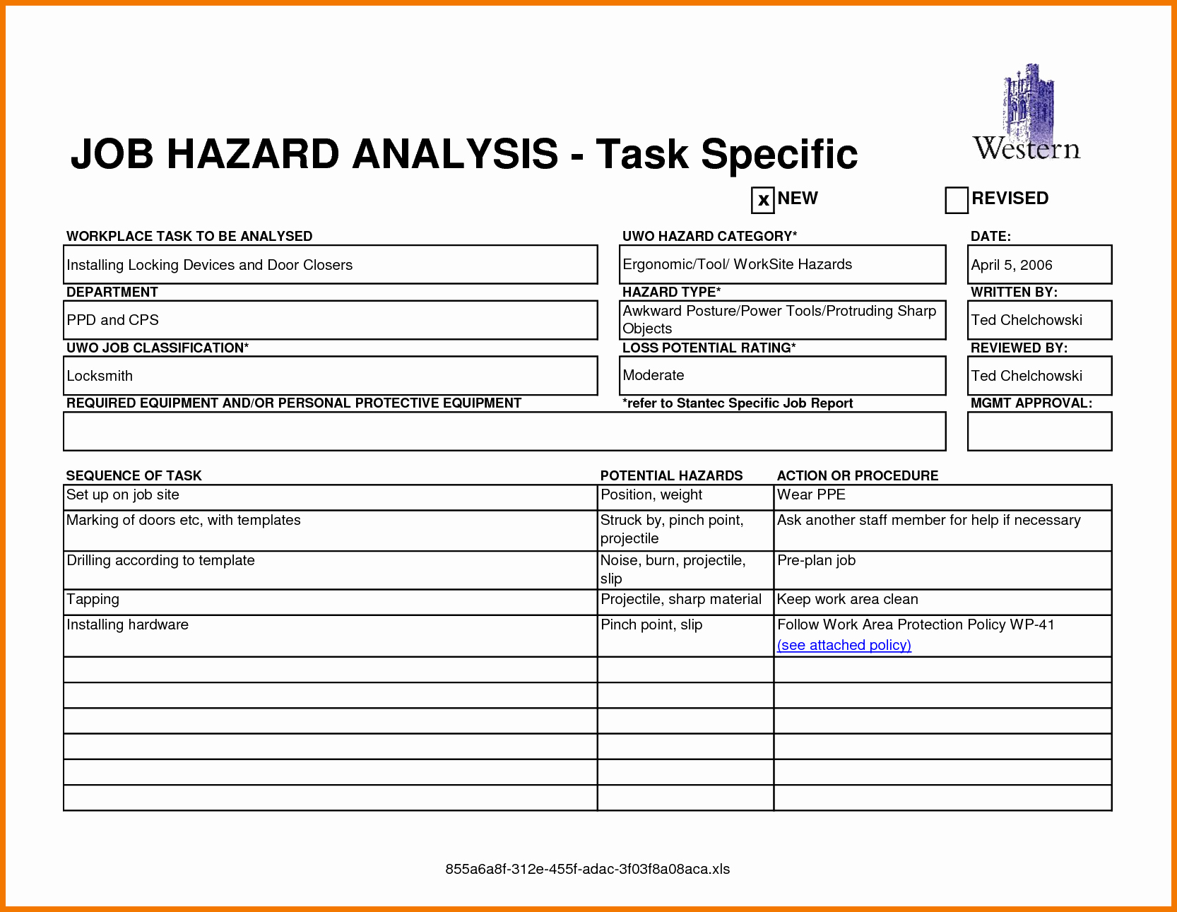 Certificate Of Analysis Template Excel Inspirational Job Safety Analysis format for Sample Certificate