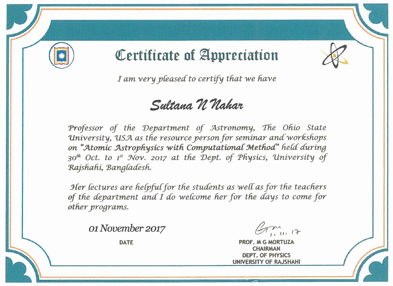 Certificate Of Appreciation for Students Beautiful 786