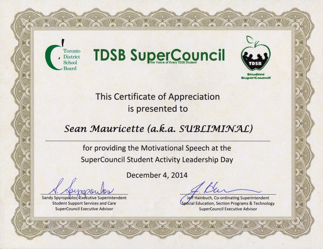 Certificate Of Appreciation for Students Beautiful Awards Aka Subliminal
