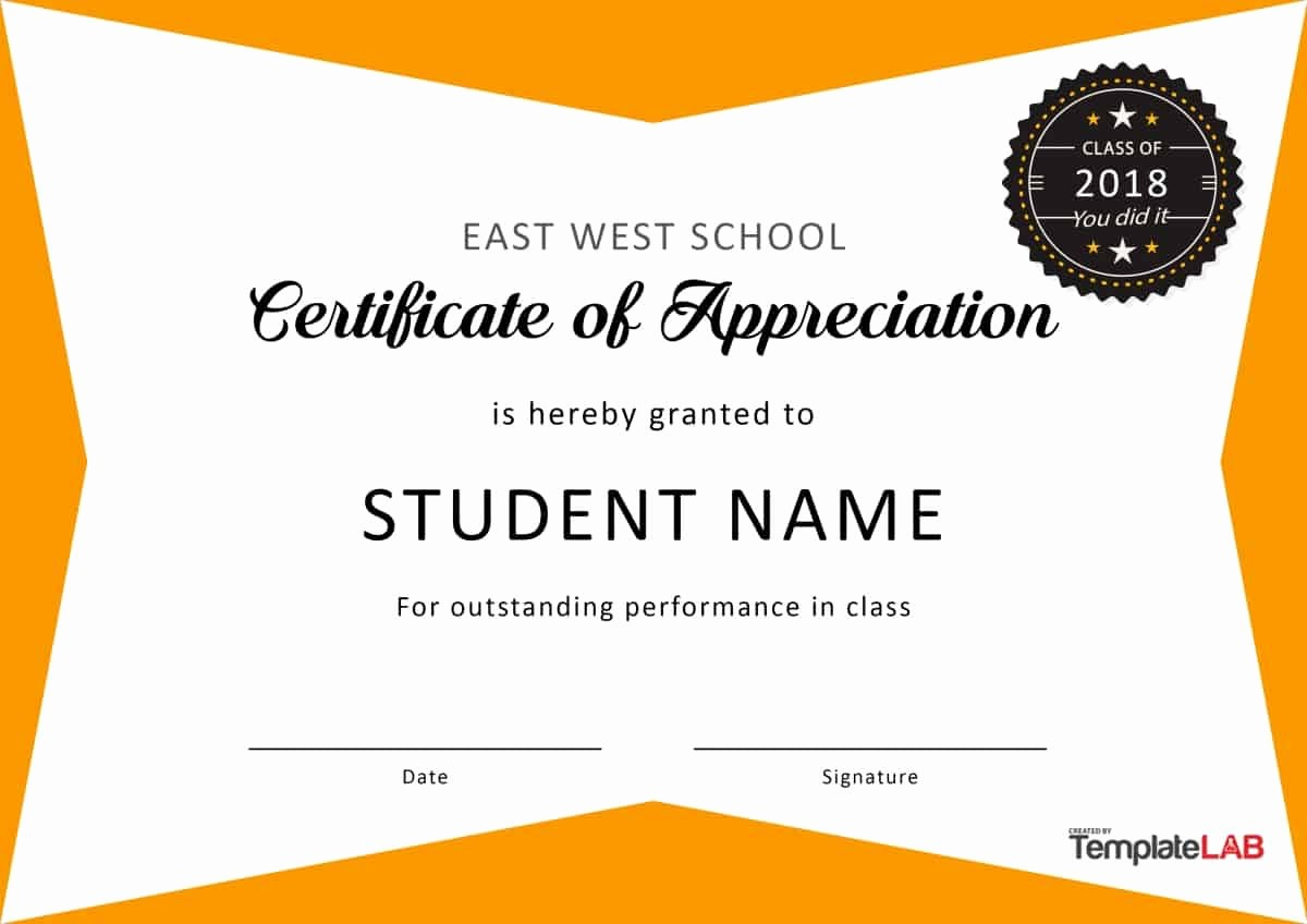Certificate Of Appreciation for Students Elegant 30 Free Certificate Of Appreciation Templates and Letters