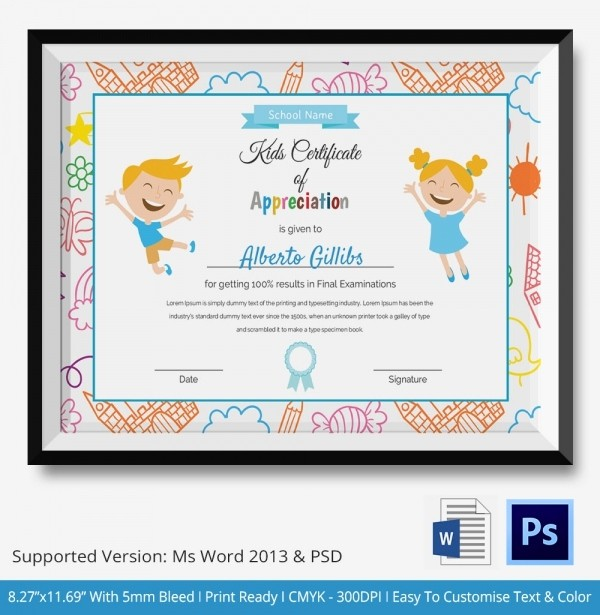 Certificate Of Appreciation for Students Inspirational Kids Certificate Template 12 Pdf Psd Vector format