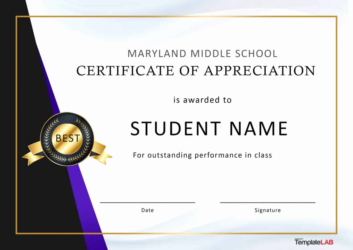 Certificate Of Appreciation for Students Lovely 30 Free Certificate Of Appreciation Templates and Letters