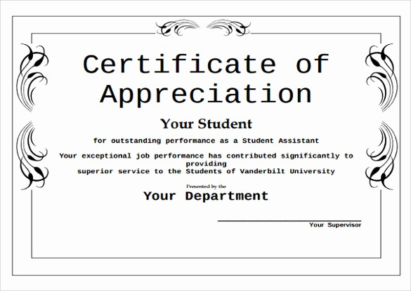 Certificate Of Appreciation for Students Luxury 43 formal and Informal Editable Certificate Template
