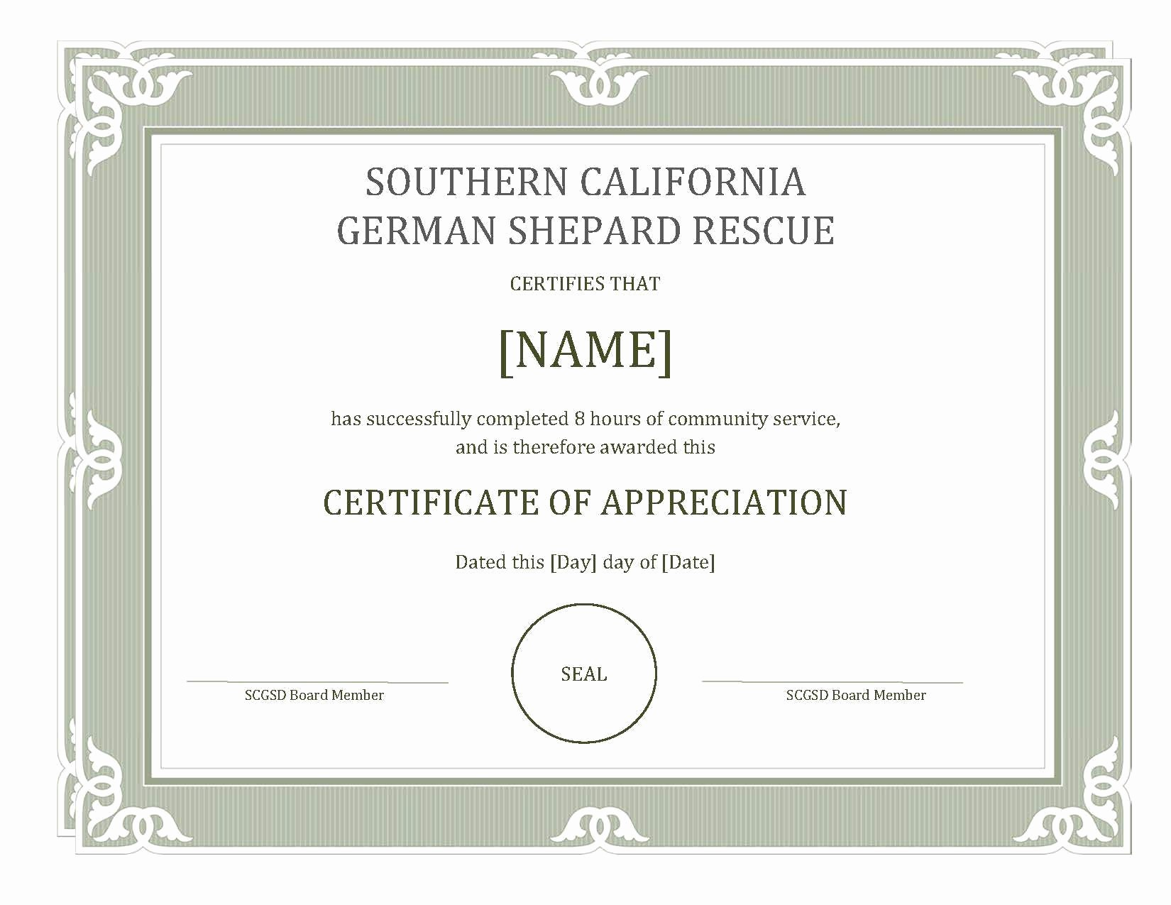 Certificate Of Appreciation for Students Luxury Munity Service for Students