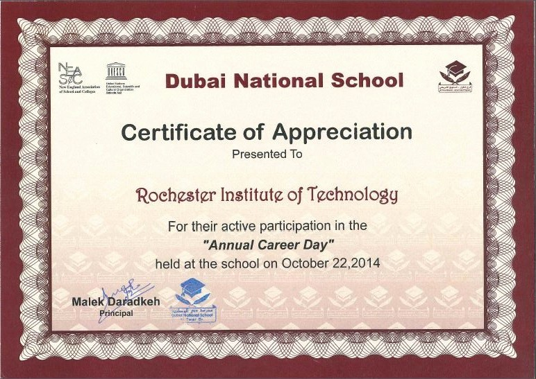 Certificate Of Appreciation for Students New Rit Dubai Receives Certificate Of Appreciation From Dubai