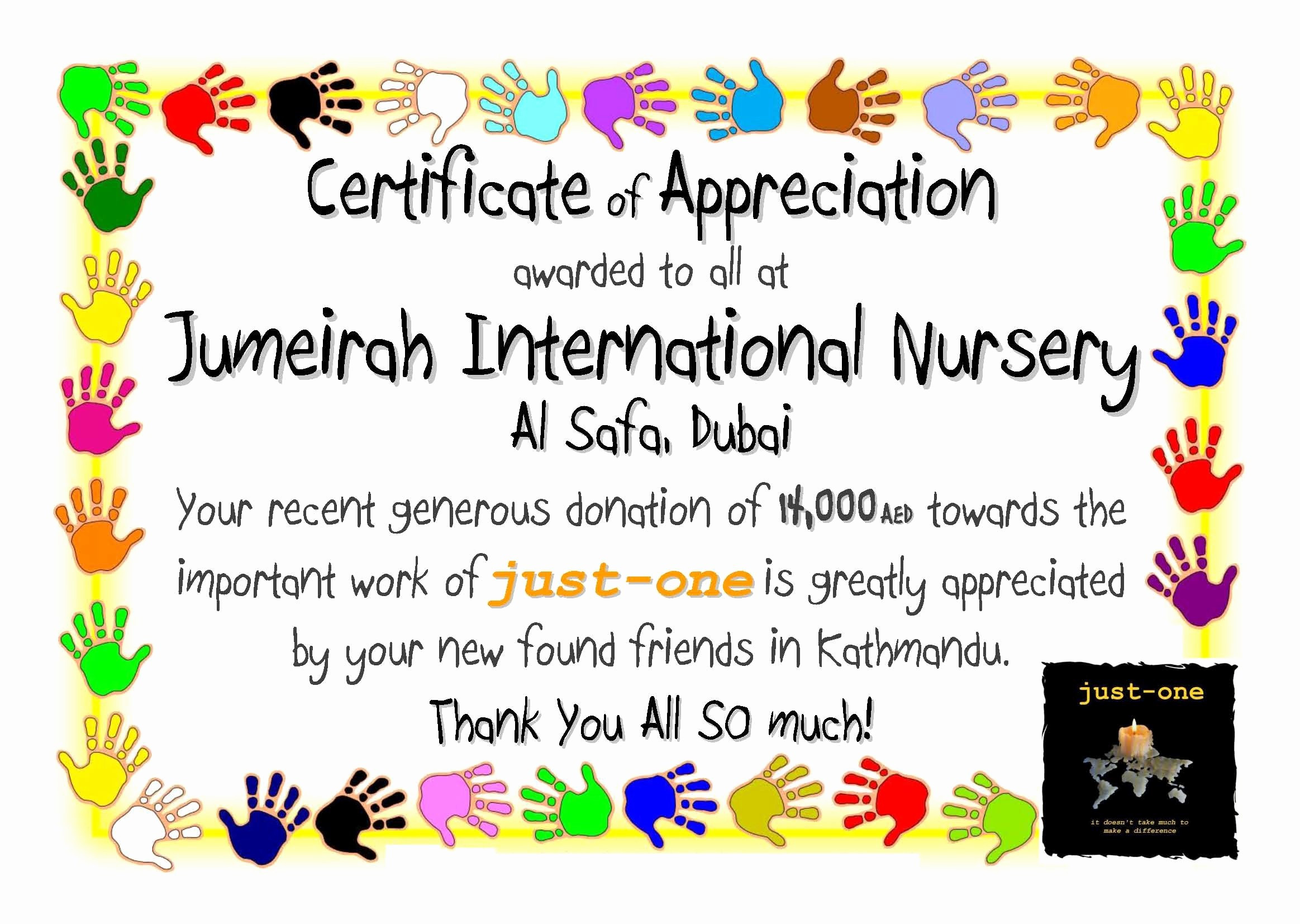 Certificate Of Appreciation for Students New Student Appreciation Certificate
