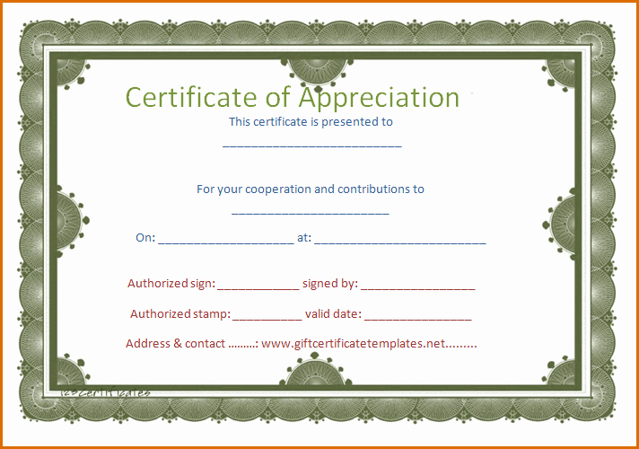 Certificate Of Appreciation Word Template Awesome 5 Certificate Of Appreciation Template Word