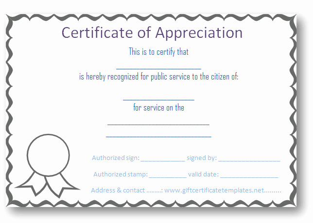 Certificate Of Appreciation Word Template Beautiful Certificate Of Appreciation