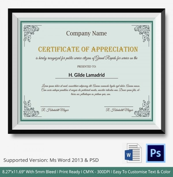 Certificate Of Appreciation Word Template Best Of Certificate Of Appreciation Templates 24 Free Word Pdf