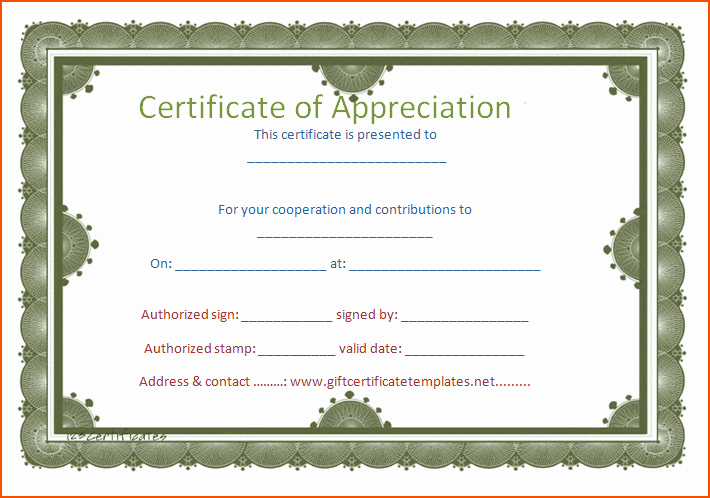 Certificate Of Appreciation Word Template Elegant 8 Certificate Of Appreciation Template Bookletemplate