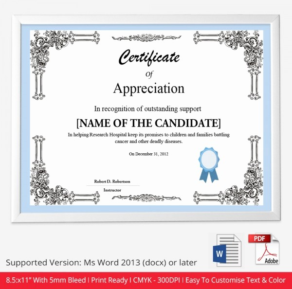 Certificate Of Appreciation Word Template Elegant Certificate Template 50 Free Printable Word Excel Pdf