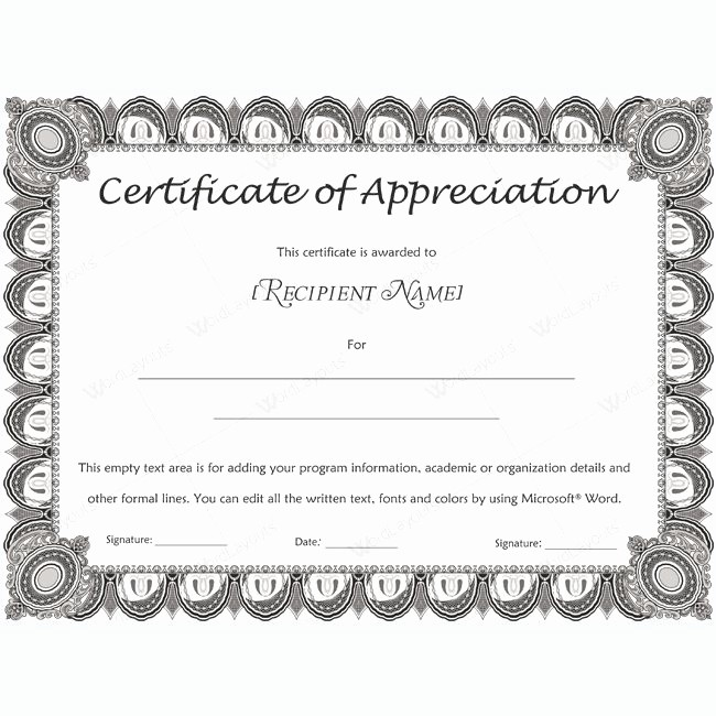 Certificate Of Appreciation Word Template Fresh 26 Best Certificate Of Appreciation Templates Images On