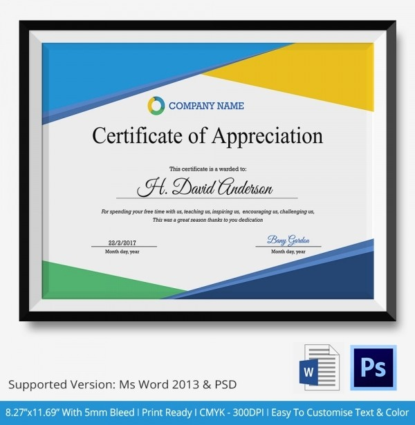 Certificate Of Appreciation Word Template Fresh Certificate Of Appreciation Templates 24 Free Word Pdf