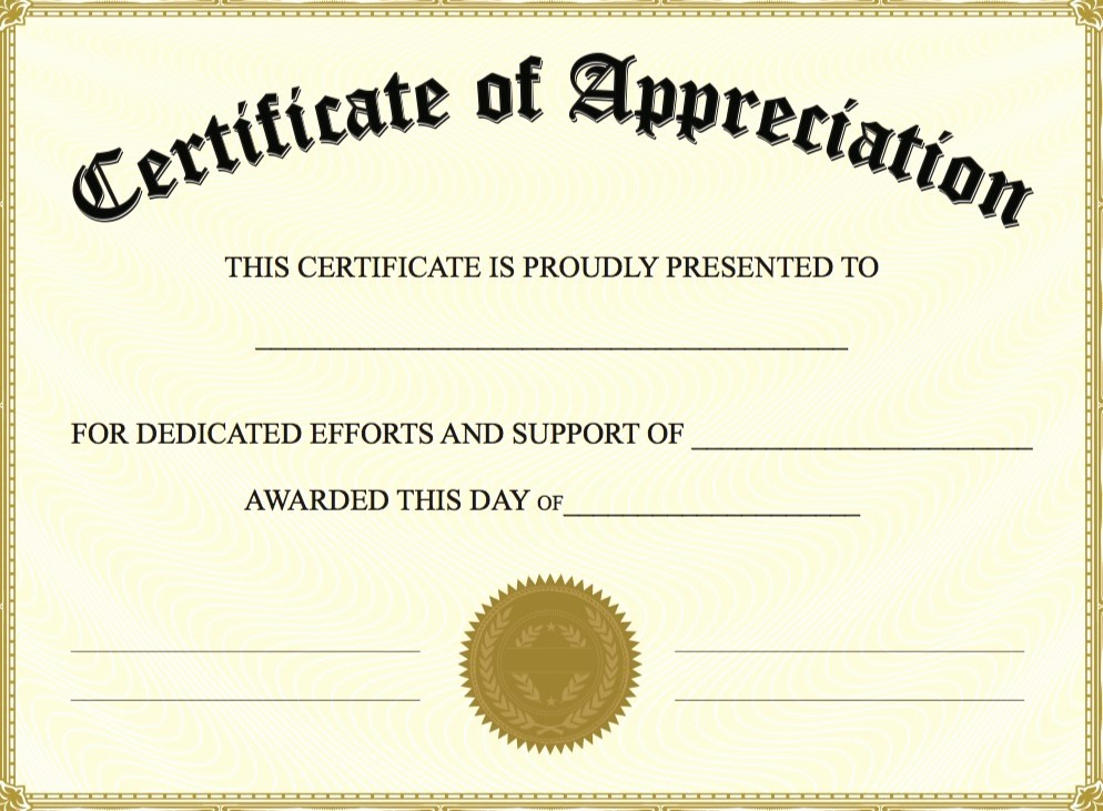 Certificate Of Appreciation Word Template Fresh Free Certificate Appreciation Templates Invitation