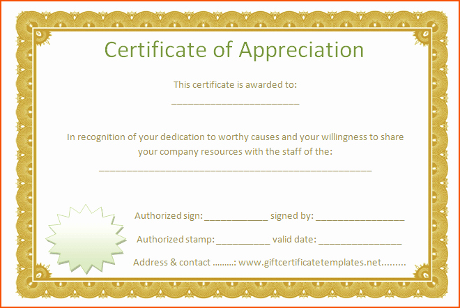 Certificate Of Appreciation Word Template Inspirational 7 Certificate Of Appreciation Template Word
