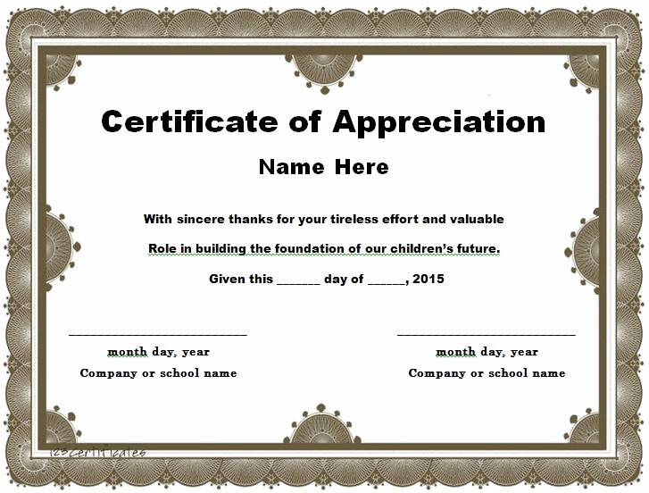 Certificate Of Appreciation Word Template Lovely 31 Free Certificate Of Appreciation Templates and Letters