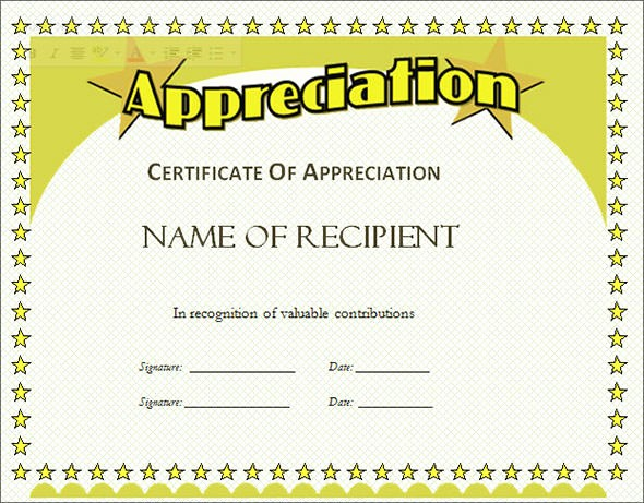Certificate Of Appreciation Word Template Lovely Certificate Of Appreciation Template 13 Download In