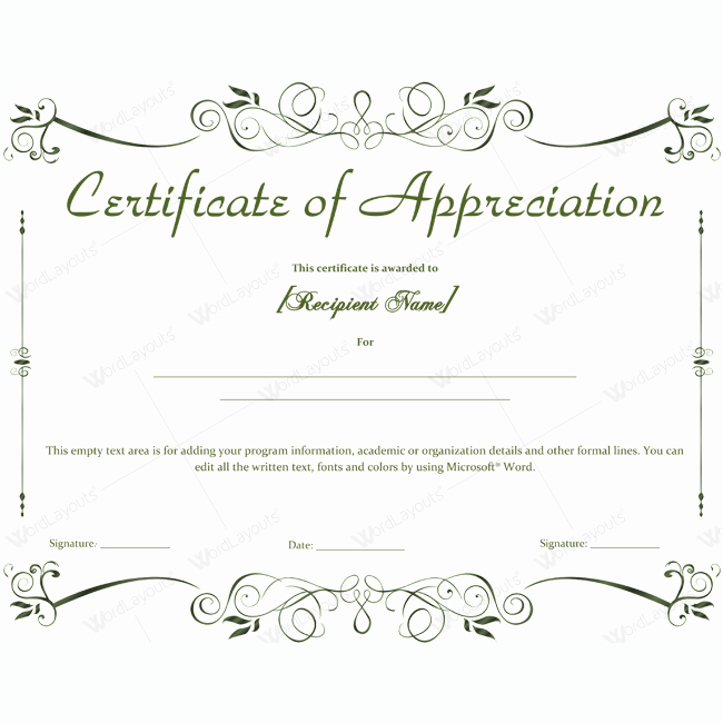 Certificate Of Appreciation Word Template Luxury Certificate Of Appreciation 04 Word Layouts