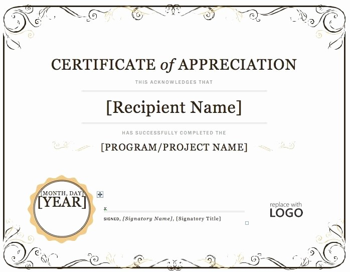 Certificate Of Appreciation Word Template Luxury Certificate Of Appreciation – Microsoft Word