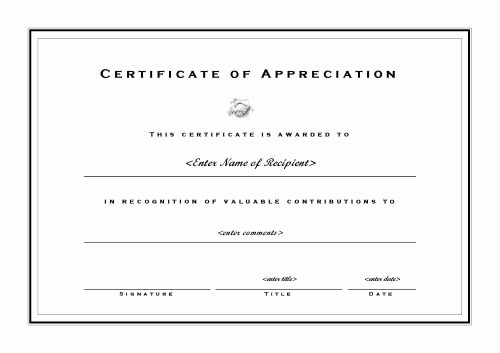 Certificate Of Appreciation Word Template Luxury Microsoft Word Certificate Appreciation Template