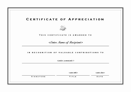 Certificate Of Appreciation Word Template New Certificates Of Appreciation 002