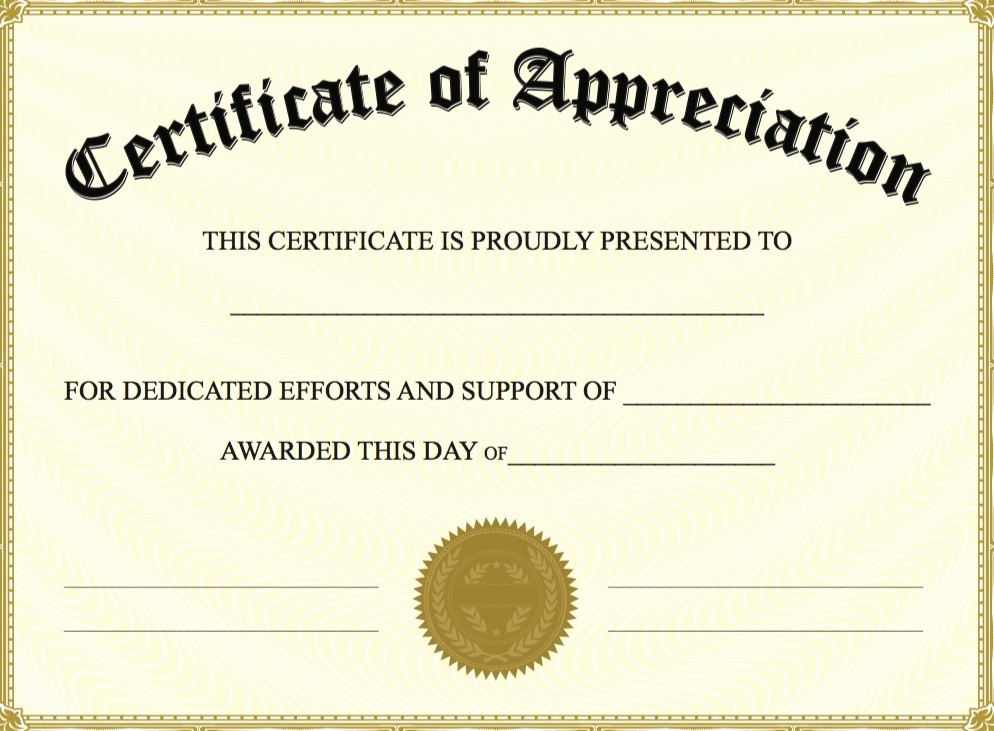 Certificate Of Appreciation Word Template Unique Certificate Appreciation Template Word Doc