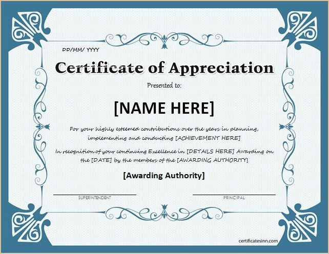 Certificate Of Appreciation Word Template Unique Certificates Of Appreciation Templates for Word