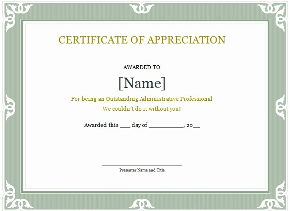 Certificate Of Appreciation Word Template Unique Word Certificate Template 49 Free Download Samples