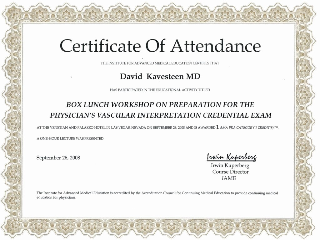 Certificate Of attendance Template Word Awesome 5 Certificate Of attendance Templates Word Excel Templates