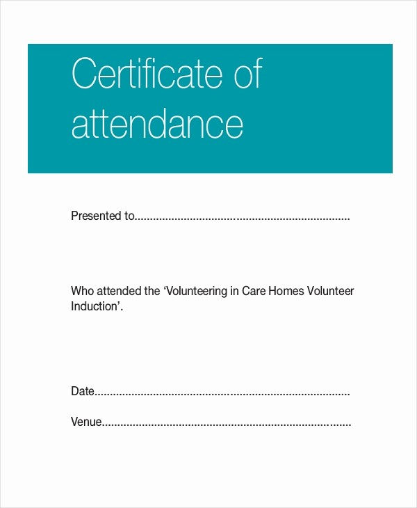 Certificate Of attendance Template Word Awesome Certificate Template 12 Free Word Pdf Document