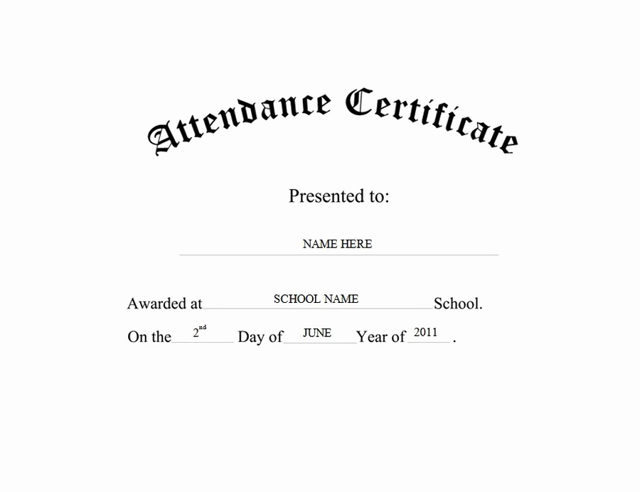 Certificate Of attendance Template Word Beautiful attendance Certificate Free Templates Clip Art & Wording