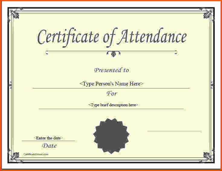 Certificate Of attendance Template Word Beautiful Certificate attendance Template Templates Data