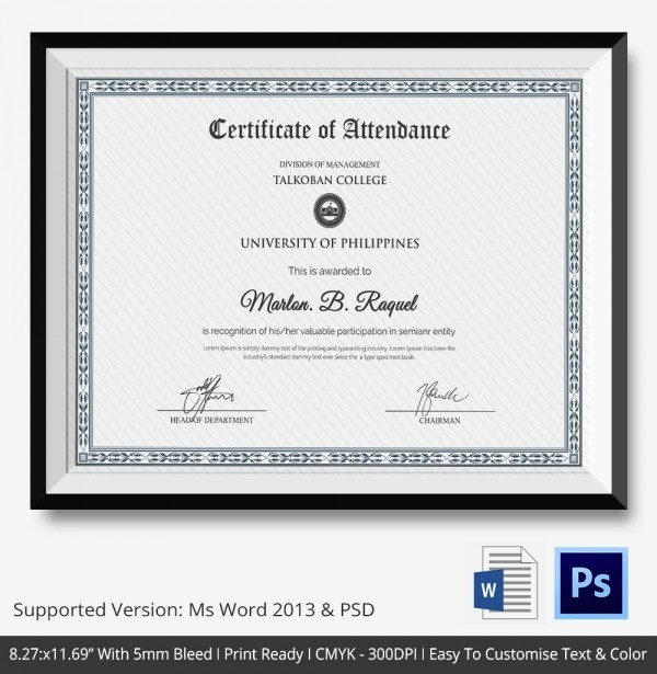 Certificate Of attendance Template Word Best Of attendance Certificate Template – 24 Free Word Pdf