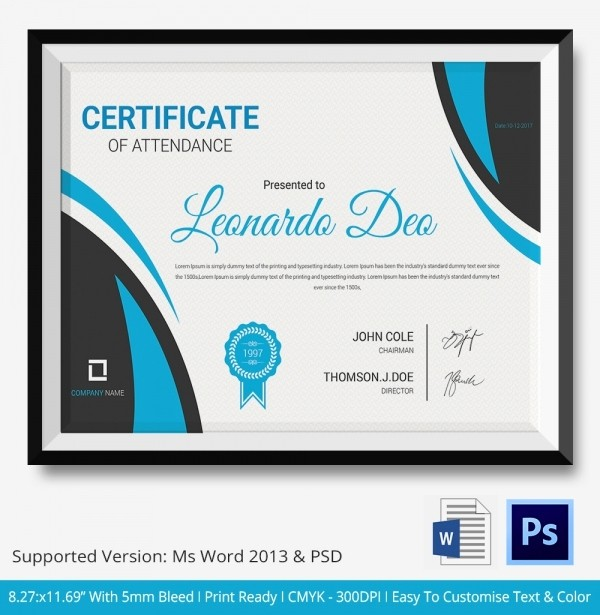 Certificate Of attendance Template Word Elegant attendance Certificate Template – 24 Free Word Pdf