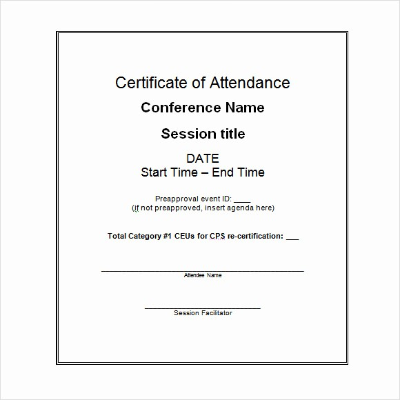 Certificate Of attendance Template Word Fresh 16 Sample attendance Certificate Templates to Download