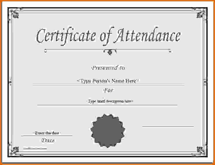 Certificate Of attendance Template Word Fresh Certificate Of attendance Templatereference Letters Words