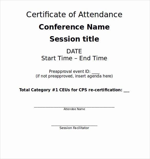 Certificate Of attendance Template Word Fresh Word Certificate Template 11 Samples Examples