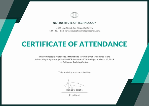 Certificate Of attendance Template Word Inspirational 21 attendance Certificate Templates Doc Pdf Psd