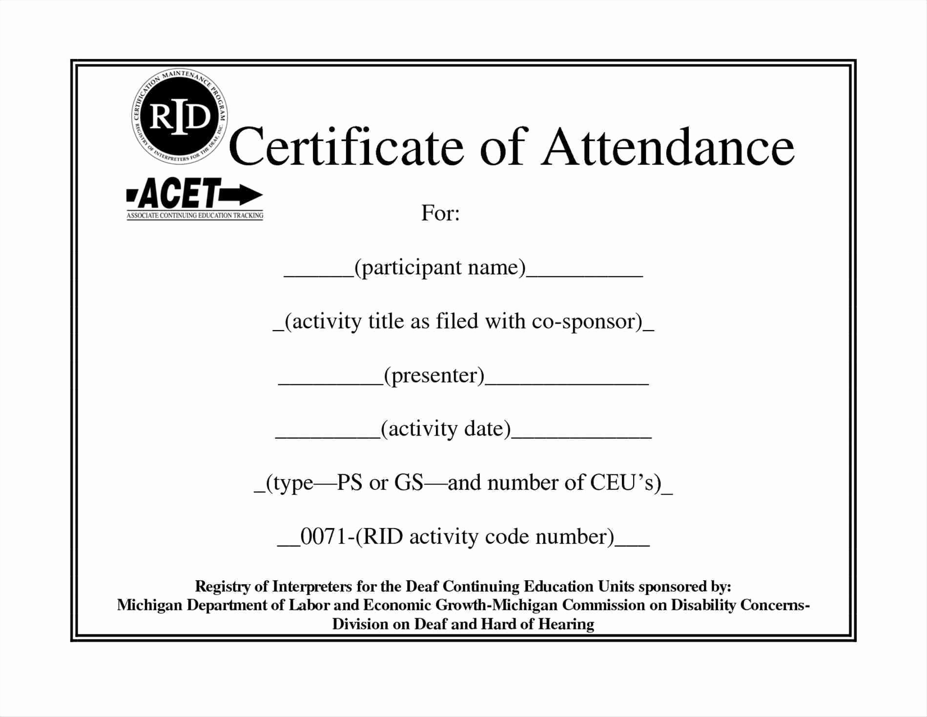 Certificate Of attendance Template Word Inspirational Certificate attendance Template Microsoft Word Fr