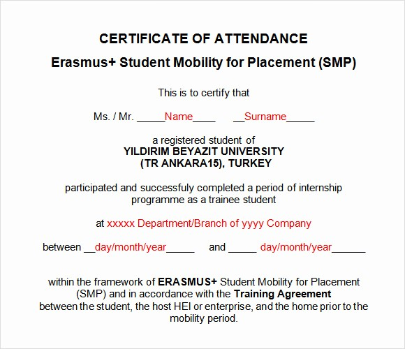 Certificate Of attendance Template Word Lovely 16 Sample attendance Certificate Templates to Download