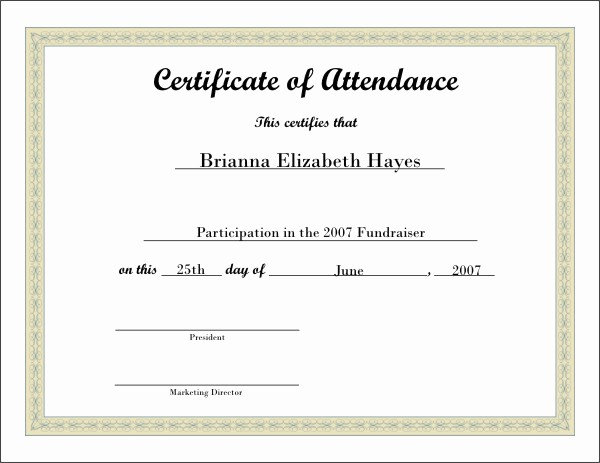 Certificate Of attendance Template Word Lovely Free Printable Certificate 5