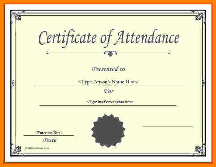 Certificate Of attendance Template Word Lovely Perfect attendance Certificate Template Free Perfect